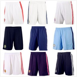 Wholesale Thai Home Away Third Madrid Shorts Juventus Manchester Barcelona Milan Chelsea Soccer Shorts Blue Short Pants Free Print Number