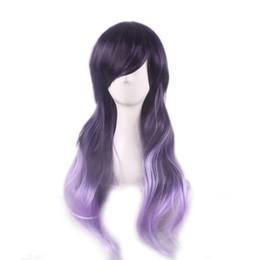 WoodFestival harajuku wig women long wavy hair wigs bangs ombre synthetic fiber wigs heat resistant purple gradient wig cosplay