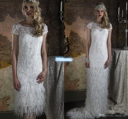 Wholesale Two Piece Feather Wedding Dresses with Greek Goddess Style Detachable Skirt Burlesque Gatsby Vintage Bridal Gowns For UK Brides in