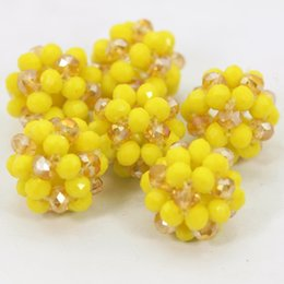2019 Top Quality yellow gold Crystal Beads Balls Wholesale DIY Jewelry Making Beads Handmade Glass Crystal Balls 20MM Free Shipping