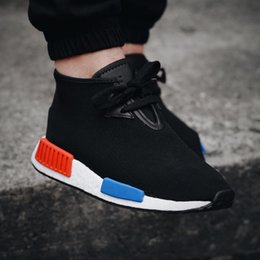 Wholesale with Box Nmd C1 Boost Chukka Men and Women Unisex High Tops Sneakers OG Black blue red Sports Shoes Winter Autumn