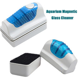 Wholesale Aquarium Magnetic Glass Cleaner Magnetic Brush Fish Tank Glass Algae Cleaner Floating Clean Brush with Retail Package DHL Free OTH285