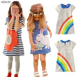 Samgami Baby Summer Children clothing New 2016 Kids girls dress blue striped rabbit flower rainbow Princess dress short sleeve Free shipping