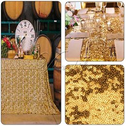 Wholesale Gold Sequins Table Cloth Table Cover x60 quot Top Quality Table Cloth for Wedding Party Banquet Table Decrorations