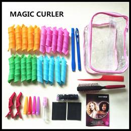 Wholesale 34pcs CM DIY increíble magia Leverag bigudíes de pelo peinado del cabello Curlformers rodillo del pelo Herramientas de tamaño grande con el peine del cepillo de clip elástico bolsa de PVC