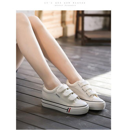 Wholesale 2016 spring autumn Spring increased thick bottom Velcro student shoe leisure shoes Korean female student flat shoes tide