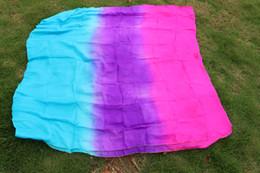 2016 high sales of handmade 100% silk belly dancing veils rose purple turquoise 270 * 114cm