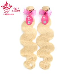 "Queen Hair Best Quality European Human Hair Extensions 2pcs Lot 12""-28"" Body wave 613# Dyeable DHL Free Shipping Queen Hair"
