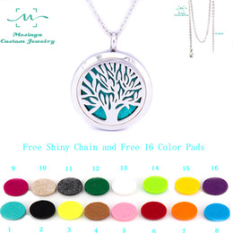 Wholesale Free Shiny Chain mesinya plain tree of life mm Aromatherapy Essential Oils Stainless Steel Diffuser Locket Necklace