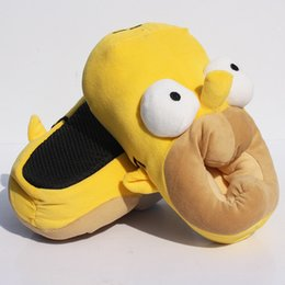 Wholesale Pair quot cm Anime The Simpsons Plush Slippers Shoes Warm Winter Adult Slipper Great Gift