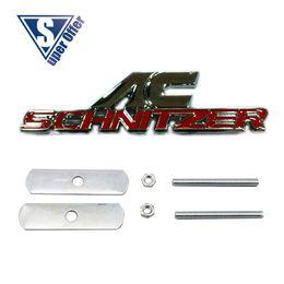 Wholesale 3D Metal Sport power Front Hood Grill Badge Emblem stickers screws for AC SCHNIZTER RED