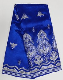 Wholesale Royal blue silver yards George fabric African George Lace Fabric Wedding Apparel of Sequins