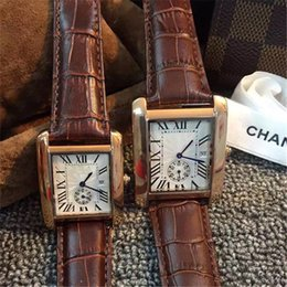 Wholesale Lover Watches Sale - Hot Sale Luxury Brand Watch Men Women Quartz Wristwatch Leather Strap Square Dial Ladies Hours Reloj Femme Dress Clocks Lovers Best Gift