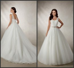 Wholesale White Tulle Ball Gown Appliques Lace Wedding Dresses EG V Neck Sleeveless Beaded Waistbelt Ronald Joyce Bridal Gowns Adrianna