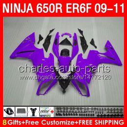 8gifts Body For KAWASAKI NINJA 650R ER-6F 09-11 13NO57 purple black ER6F 2009 2010 2011 650 R ninja650 ER 6F 09 10 11 Fairing gloss purple