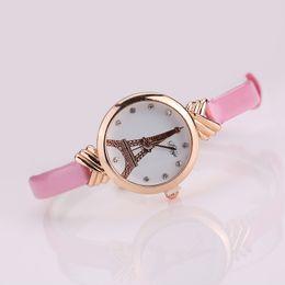 Descuento relojes de pulsera piezas 50 Piezas Moda Mujer PU Cuero Wristband Torre Eiffel Cristal Diamante Quartz Reloj Analógico Hot