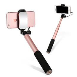 Wholesale ROCK Big Mirror review long Selfie Stick Wire control monopod for Universal Mobile phones Extendable stick Rotating Handle Monopod