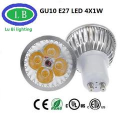 Promotion dimmable e27 conduit 4x1w Lampe Led 4W GU10 E27 Dimmable LED Projecteur 3x1W Réel 4x1W GU10 E27 Bombillas Spot Lumières avec 4leds Ampoules Projecteurs Downlight