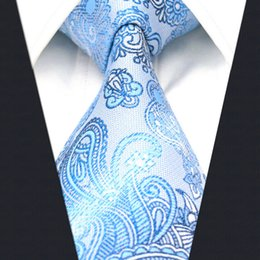 A12 Light Blue Floral Silk Handmade Jacquard Woven Fashion Classic Men Necktie Tie extra long size