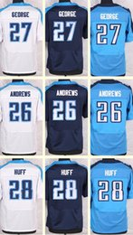 Wholesale 2016 New Men s Marqueston Huff Eddie George Andrews white Blue Light Blue Top Quality jerseys Drop Shipping