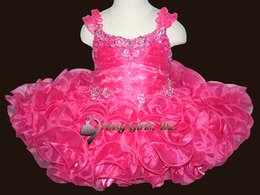 New 2016 Spring Girl's Pageant Dresses Hot Pink Likeable Lace Straps Beading Sequins Petite Cupcake Dresses Birthday Party Toddler Dresses