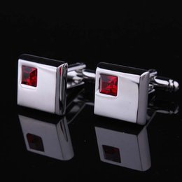 Red Crystal Cufflinks Fashion Male French Shirt Silver Plated Men's Shirt Cuff Links Cufflink Free Shipping X-206