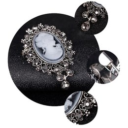 Wholesale Brand New Vintage Cameo VICTORIAN STYLE crystal Wedding party women pendant brooch pin GE07173