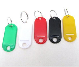 50 Pcs Assorted Color Key ID Label Tags Split Ring Keyring Plastic Keychain For Baggage Paper Insert Luggage Tags