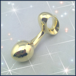 Drop shape anal plug gold plated metal dildo stimulating wand male G-spotter sex toy adult product
