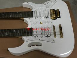 Guitare double goulots en Ligne-Guitare Double Neck électrique personnalisé blanc Double Neck 6/12 cordes de guitare électrique L'arbre blanc de la vie OEM disponible