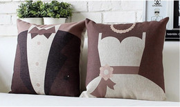 Romantic wedding dress suit love lover wedding decor pillow decorative pillows euro cover case arts valentine gift
