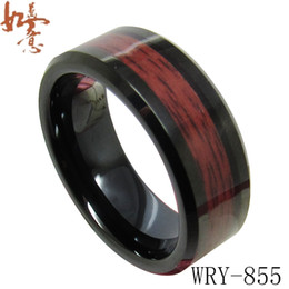 Red Wood Inlay Black Tungsten Ring Bands for Men WRY-855 8mm width