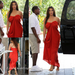 Free Shipping Kim Kardashian Red Colour Evening Dress New Sexy Chiffon Long Casual Party Gown Celeybrity Dress