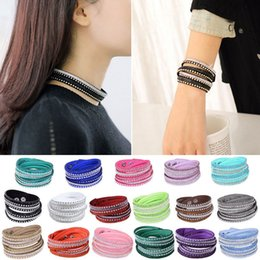 Wholesale Women Crystal Rhinestone Slake Deluxe Leather Wrap Wristband Cuff Punk Bracelet Bangles Fit Party Best Gift