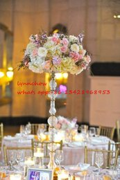 Wholesale acrylic wedding pillar vintage style candle holder flower vase