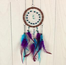 Promotion boutiques de charme Charms Vintage Perles pourpres main Dreamcatcher Pendentif Net Feather Hanging Ornament Décoration Pour la maison de voiture Bureau