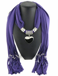 Newest Cheap Fashion Women Scarf Direct Factory Jewelry Tassels Scarves Women Black&white Heart Necklace Scarf From China