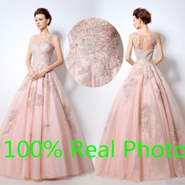 Custom blush Gold Embroidery sheer neck Prom Pageant Dresses 2016 Real Image Bling Bling Sparkly ball gown Arabic Occasion Dresses