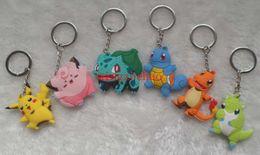 300 Pcs Pocket Monster Keychain Cartoon Pocket Monster 3D PVC Figure Ornaments Key Chain Keyrings Cute Christmas Gift