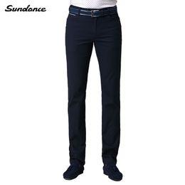 Wholesale Sundance Spring Fall Men s Slim Tapered Slight Elastic Casual Pant Dark blue Flat Front Zipper Fly Mid waist Business Dress Pants