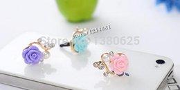 Wholesale Fashion Style Solid Resin Flower Dust Plug mm Earphone Plug Mobile Phone Ear Cap Dust Plug For Iphone For Samsung dust plug