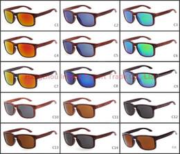 Wholesale 15 Colors Hot Sale Cycling Designer Sunglasses Plastic Frame Woodgrain Printing Holbrook Anti UV Eyewear Cheap Sun Glasses