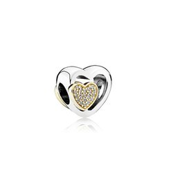 2016 Authentic 925 Sterling Silver Heart Silver Charm With 14k Hearts And Clear Cubic Zirconia Fit Original Pandora Bracelet DIY