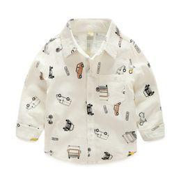 Christmas New Kids Boys Cars Print Cotton Fall Shirts Long Sleeve Western Cute Boys Fashion Tops