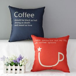 45cm Nordic Style Red Coffee Cup Cotton Linen Fabric Throw Pillow 18inch Handmade New Home Office Bedroom Decoration Sofa Back Cushion