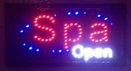 Wholesale 2016 Graphics New Spa store open Eye Catching And White Surrounding Flashing Lights Animated Led Sign X19 inch