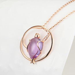 Kingco Solid 18k Rose Gold Amethyst Beetle Shape With Diamonds Necklaces Drop Pendant Jewelry DC0160