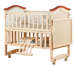 Wholesale safe woods baby cribs before years old pc drop shipping Baby crib wood multi function baby cradle crib bed table neonatal bed game be
