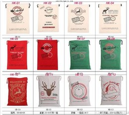 Wholesale Christmas Large Canvas Monogrammable Santa Claus Drawstring Bag With Reindeers Monogramable Christmas Gifts Sack Bags