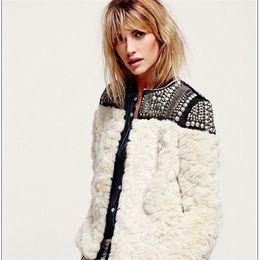 Wholesale 2016 hot new winter rex rabbit hair Stitching Beading Slim Leather grass short plush coat big size women jacket